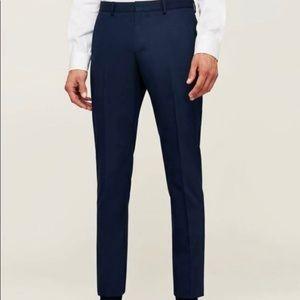 Zara Men's Heather Navy Pleated Slim Pants Size 32